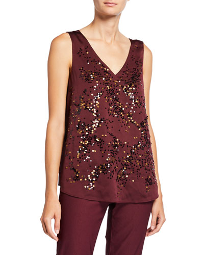 Petite In Sequence V-Neck Tank