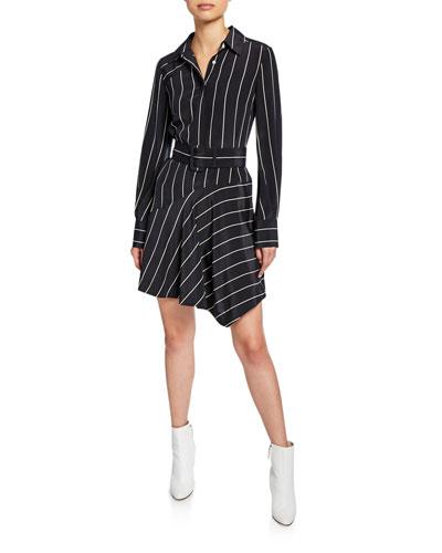 Striped Belted Asymmetrical Shirt Dress