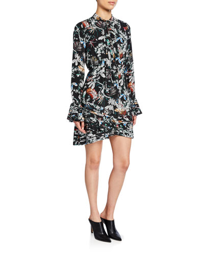 Printed Tie-Neck Long-Sleeve Dress