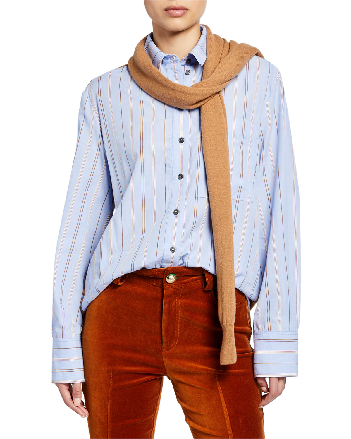 Derek Lam 10 Crosby Knits STRIPED LONG-SLEEVE BUTTON-DOWN SHIRT WITH KNIT COMBO