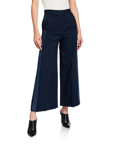 Side-Stripe Culottes with Sailor Buttons