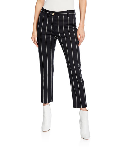 Cropped Straight-Leg Striped Trousers