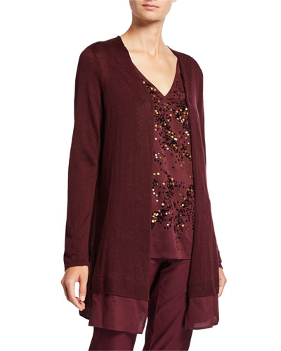 Petite Contessa Long Cardigan with Sheer Trim