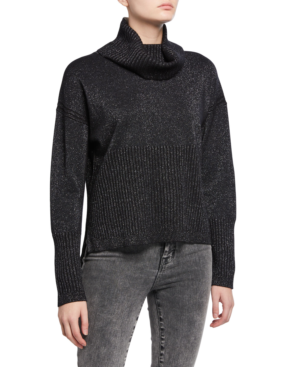 Derek Lam 10 Crosby Sweaters BOND METALLIC TURTLENECK SWEATER