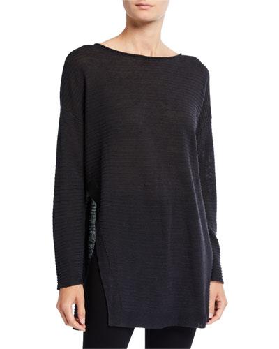 Organic Linen/Cotton Long-Sleeve Open-Side Rib Tunic Sweater