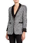 Alice + Olivia Macey Sequin Shawl-Collar Blazer