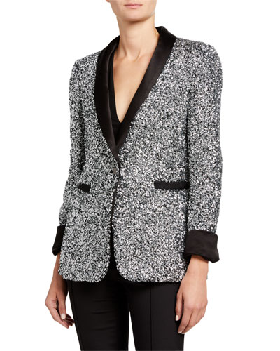 Macey Sequin Shawl-Collar Blazer