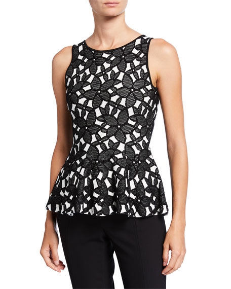 Milly Floral Mesh Jacquard Sleeveless Peplum Top