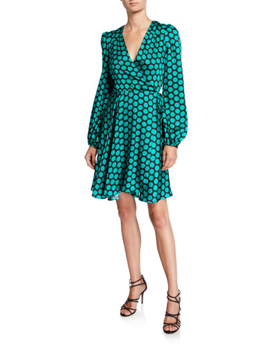 Siena Dot Long-Sleeve Twill Wrap Dress