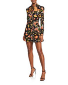 Alexis Morgana Floral Long-Sleeve Tie-Neck Dress