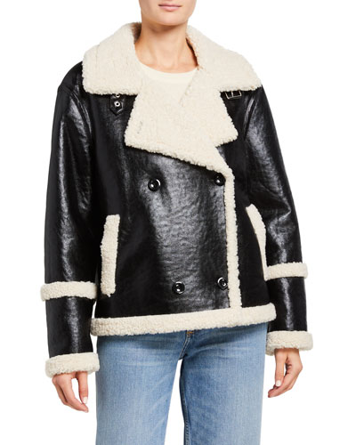 Lilli Double-Breasted Faux Fur-Trim Jacket
