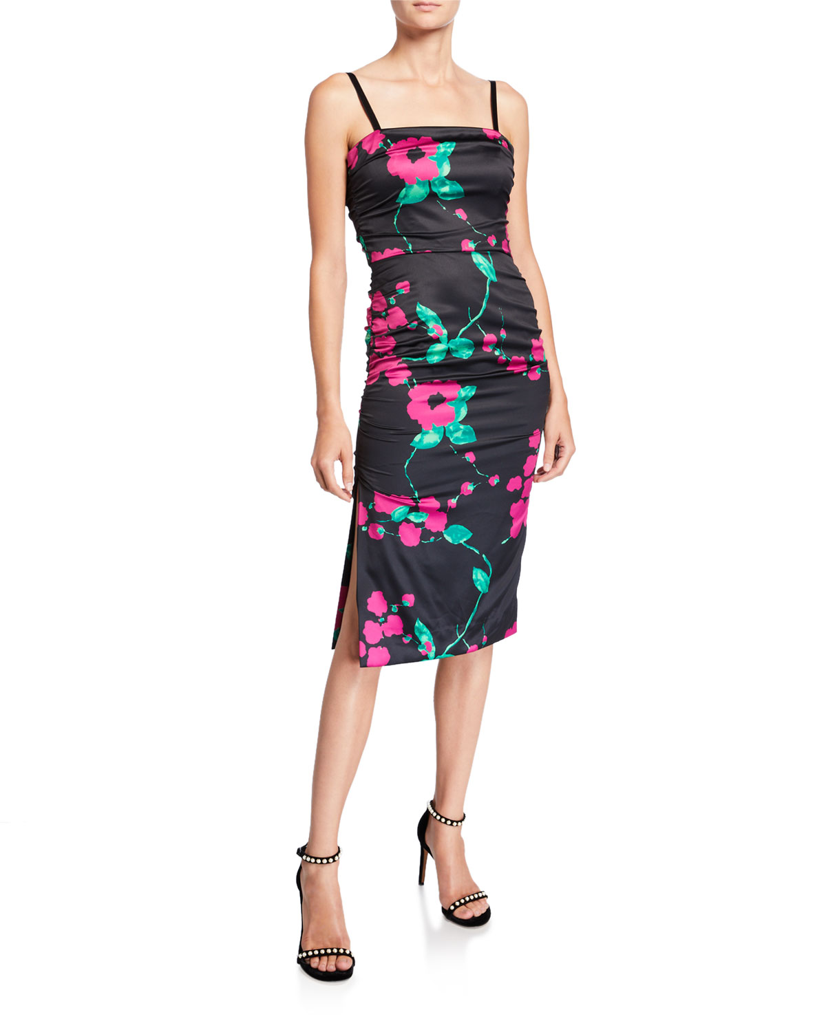 Milly Dresses DAYNA PAINTED FLORAL SLEEVELESS SATIN COCKTAIL DRESS