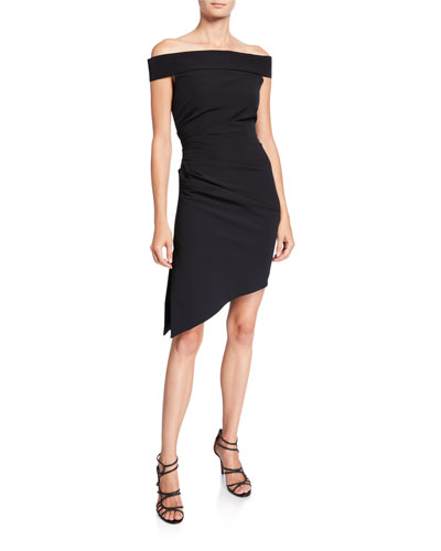 Ally Off-the-Shoulder Asymmetric Cady Cocktail Dress