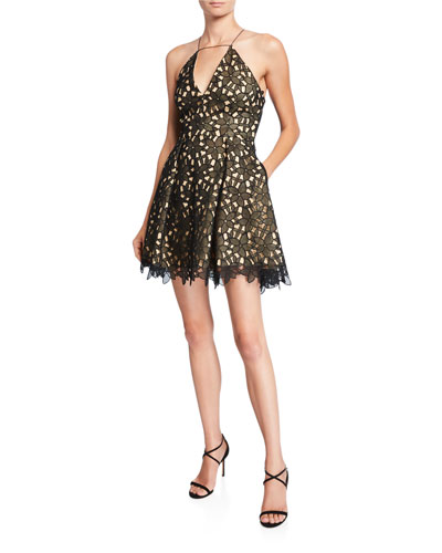 Kira Lace Halter Cocktail Dress