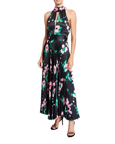 Adrianna Painted Floral Pleated Satin Halter Dress