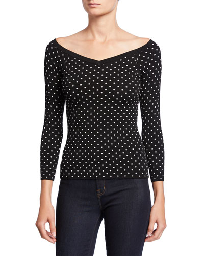 Micro Dot V-Neck 3/4-Sleeve Sweater