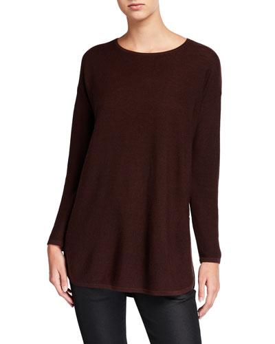 Petite Merino Wool Crewneck Curved-Hem Links Tunic Sweater