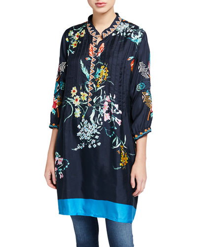 Anabel Silk Twill Button-Front 3/4-Sleeve Tunic Dress