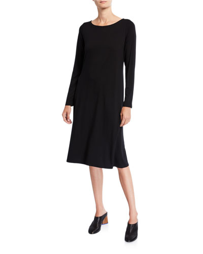 Plus Size Jersey Bateau-Neck Long-Sleeve Dress