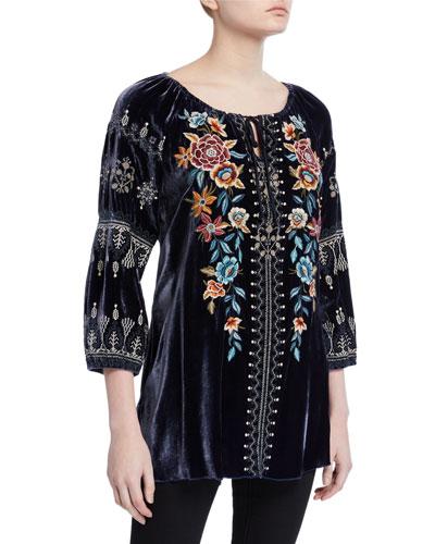 Plus Size Elani Embroidered Velvet Peasant Blouse