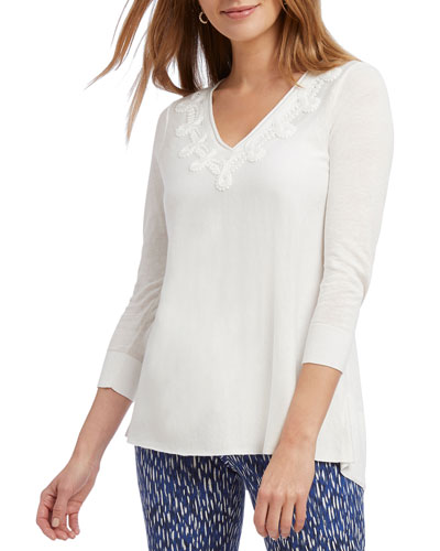 Wisteria V-Neck 3/4-Sleeve Top
