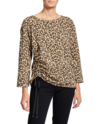 Animal-Print Ruched Long-Sleeve French-Terry Top