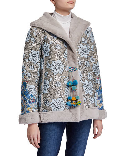 Kaya Floral Jacquard & Faux Fur Coat with Pompoms