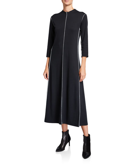Joan Vass Mock-Neck 3/4-Sleeve Long Dress with Tipping Details