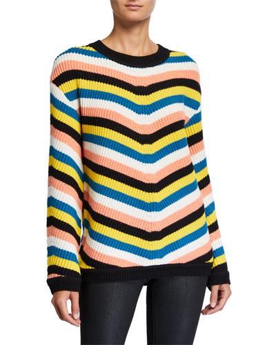 Striped Long-Sleeve Sweater