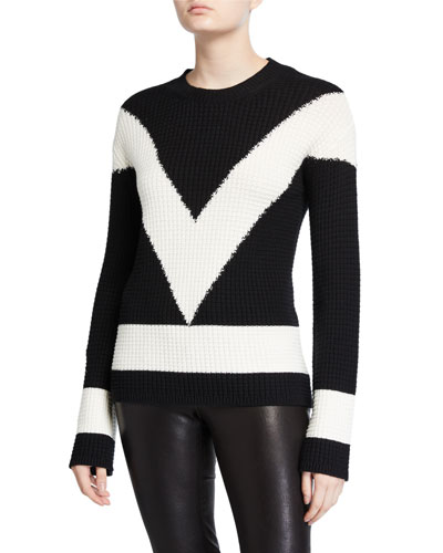 Long-Sleeve Colorblock V Sweater