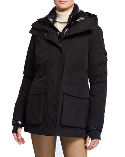 2-Piece Tailored Down Long Parka, Black