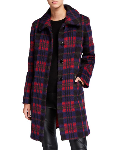 Sofia Cashmere Single-Breasted Plaid Club-Collar Coat