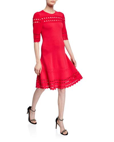 Menena Cutout Edge Elbow-Sleeve Ponte Dress