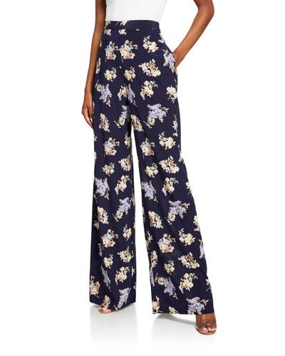 Sabotage Floral High-Rise Wide-Leg Pants