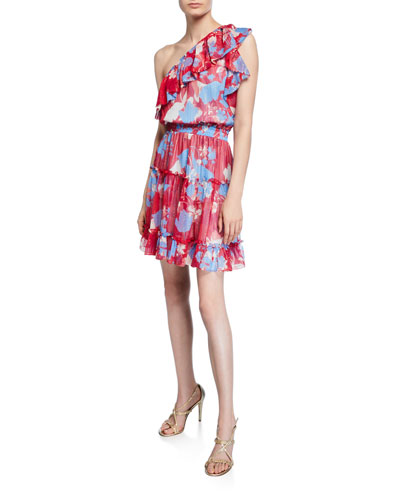 Kiya Kelaa Rose-Print One-Shoulder Smock-Waist Ruffle Dress