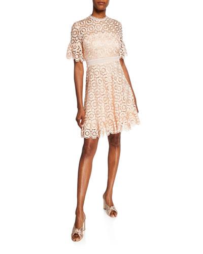 Marrakech Sora Daisy Lace Short-Sleeve Dress