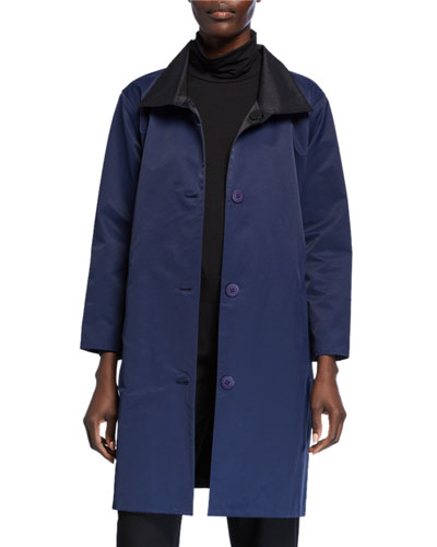 Plus Size Reversible Button-Front Coat with Stand Collar