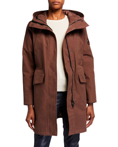 Long Hooded Parka, Brown