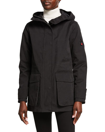Long Hooded Parka, Black