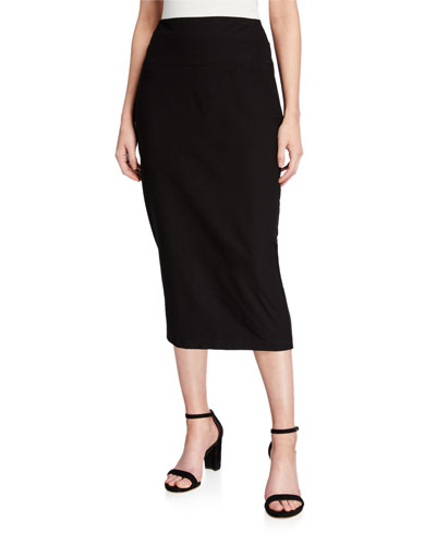 Washable Crepe Slim Midi Skirt