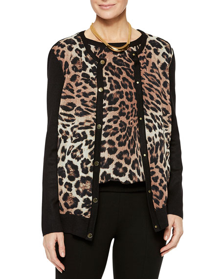 Misook Leopard Georgette & Knit Button-Front Cardigan