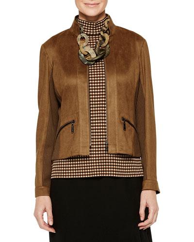 Faux Suede & Knit Trim Jacket