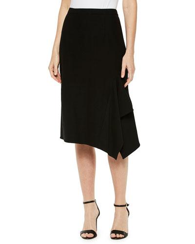Crepe De Chine Side-Drape Skirt
