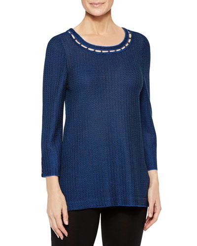 Venetian Blue Tunic with Bead Trim