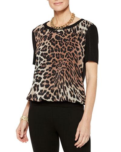 Leopard Georgette Short-Sleeve Knit Tee