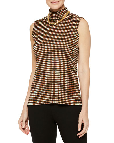 Checkered Sleeveless Turtleneck Top