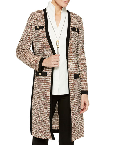 Long Boucle Jacket with Pocket Detail