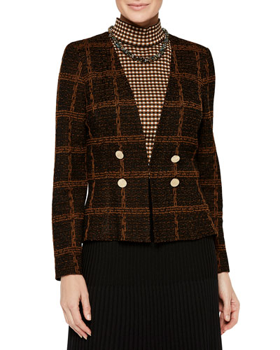 Plaid Double-Button Tweed Jacket