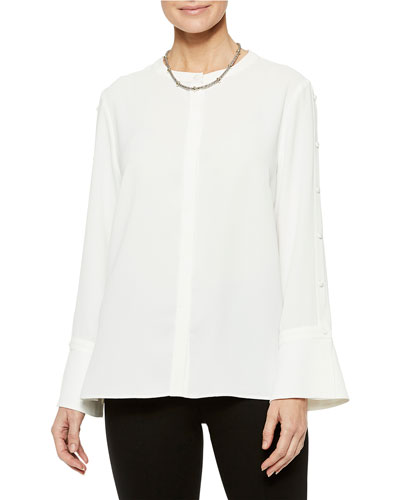 Crepe De Chine Long-Sleeve Blouse with Button Sleeve Detail