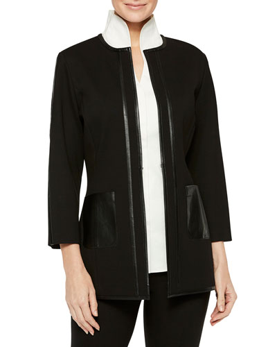 Ponte Jacket with Faux Leather